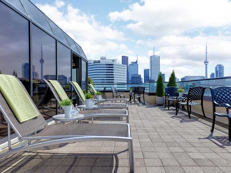 Outdoor sun deck in our fitness centre at the Chelsea Hotel, Toronto